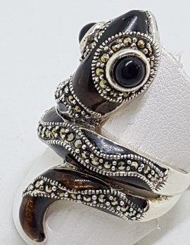 Sterling Silver Marcasite and Enamel Large Ornate Coiled Snake Ring - Brown