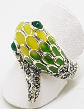 Sterling Silver Marcasite and Enamel Snake Ring - Green & Yellow