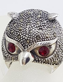 Sterling Silver Marcasite Large Owl Head Ring with Red Eyes