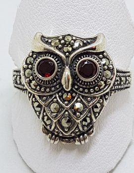 Sterling Silver Marcasite Large Owl Ring with Garnet Eyes