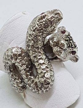 Sterling Silver Marcasite Large Snake & Cat Ring