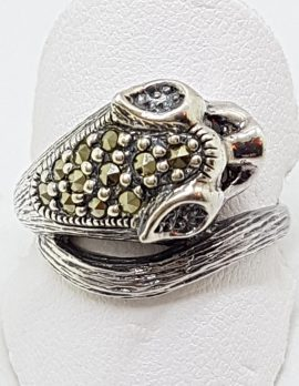 Sterling Silver Marcasite & Ruby Cat Head Ring