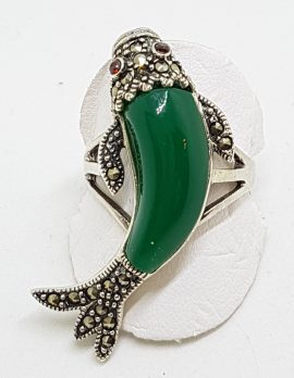Sterling Silver Marcasite and Green Agate/Onyx Large Koi Fish Ring