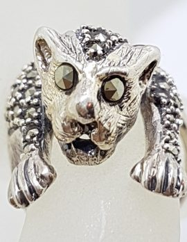 Sterling Silver Marcasite Large Cat Ring