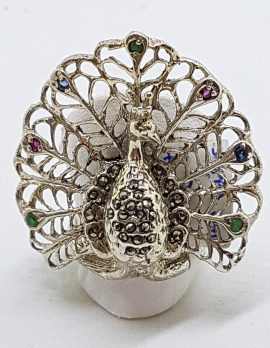 Sterling Silver Marcasite, Ruby, Emerald and Sapphire Large Ornate Peacock Ring