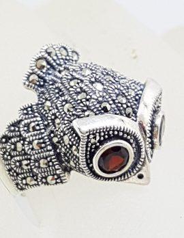 Sterling Silver Marcasite & Garnet Large Owl Ring