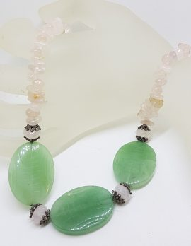 Sterling Silver Clasped Jade and Rose Quartz Bead Necklace / Chain