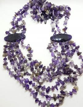 Sterling Silver Very large Multi Strand Amethyst Bead Necklace / Chain