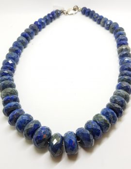 Sterling Silver Very Large Faceted Lapis Lazuli Bead Necklace / Chain