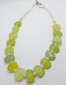 Sterling Silver Clasped Prehnite and Pearl Bead Necklace / Chain