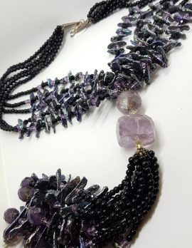 Sterling Silver Clasped Very Long Amethyst, Pearl & Onyx Tassel Bead Necklace / Chain