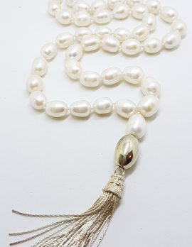 Sterling Silver Clasped Long Baroque Pearl Tassel Necklace / Chain