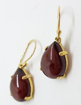 9ct Gold Cabochon Cut Garnet Drop Earrings