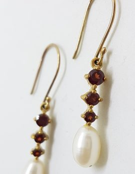 9ct Yellow Gold Garnet & Pearl Long Drop Earrings