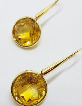 14ct Gold Long Round Drop Citrine Earrings