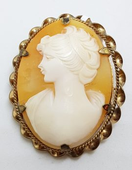9ct Yellow Gold Ornate Twist Rim Oval Cameo Lady Brooch
