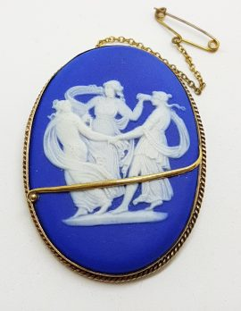 9ct Yellow Gold Large Oval Wedgwood Cameo Three Graces Brooch