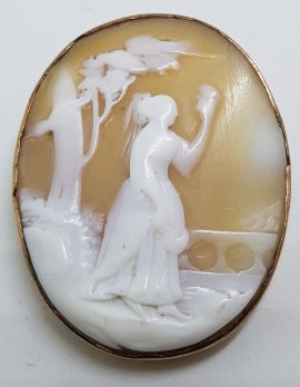 9ct Yellow Gold Large Oval Lady Scenery Cameo Brooch