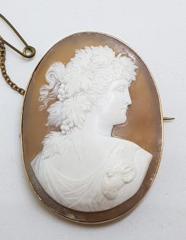 9ct Rose Gold Large Oval Lady Cameo Brooch