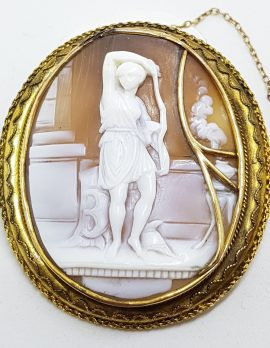 9ct Yellow Gold Very Large Oval Ornate Scenery Cameo Brooch
