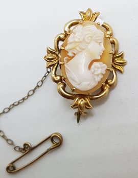 9ct Yellow Gold Ornate Design Oval Lady Cameo Brooch