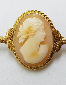 9ct Gold Ornate Oval Cameo Lady Head Bar Brooch