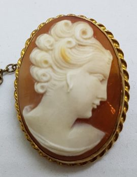 9ct Yellow Gold Twist Rim Oval Lady Cameo Brooch