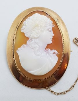 9ct Rose Gold Large Oval Cameo Lady Brooch