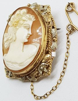 9ct Yellow Gold & White Gold Rectangular Set Large Oval Lady Cameo Brooch - Ornate Leaf Motif