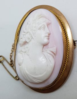 9ct Rose Gold Large Oval Lady Pink Cameo Brooch