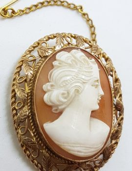 9ct Gold Ornate Filigree Oval Cameo Lady Head Brooch