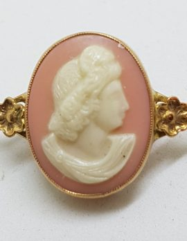 9ct Gold Ornate Oval Pink Cameo Lady Head Bar Brooch