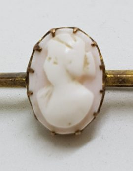 9ct Gold Oval Pink Cameo Lady Head Bar Brooch