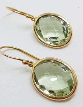 9ct Yellow Gold Green Amethyst Oval Earrings