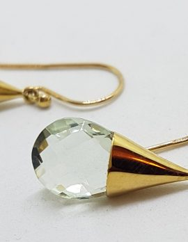 9ct Gold Green Amethyst / Prasiolite Drop Earrings