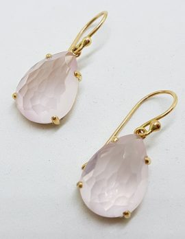 9ct Yellow Gold Faceted Rose Quartz Teardrop Shape Drop Earrings