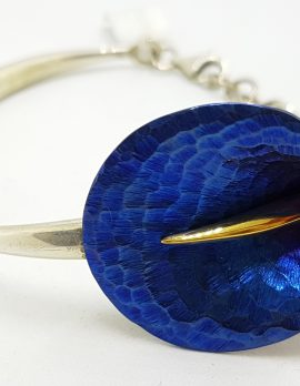 Sterling Silver Titanium Blue Lily Flower Bangle