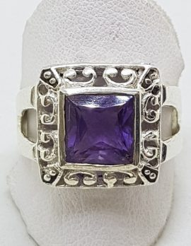 Sterling Silver Square Amethyst Ring - Ornate / Filigree