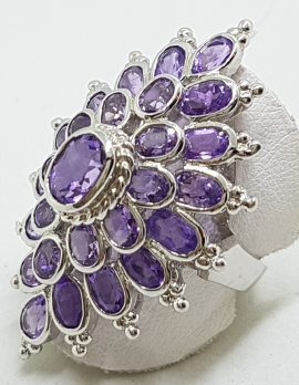 Sterling Silver Very Large Amethyst Cluster Ring