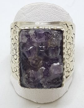 Sterling Silver Very Large Rectangular Beaten Design Handmade Amethyst Ring