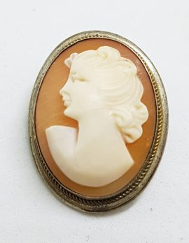 Sterling Silver Oval Lady Cameo Brooch