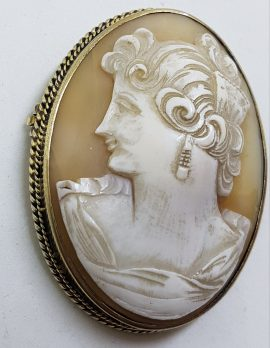 Sterling Silver Large Oval Lady Cameo Brooch