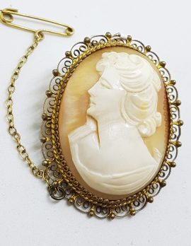 Sterling Silver Oval Ornate Lady Cameo Brooch