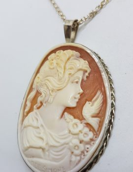 Sterling Silver Large Oval Ornate Lady Cameo Pendant on Silver Chain