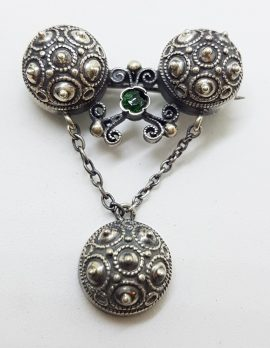 Sterling Silver Ornate Drop with Green Stone Brooch