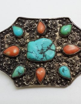Sterling Silver Turquoise and Coral Large Ornate Buckle
