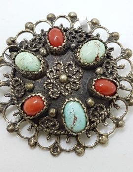 Sterling Silver Turquoise and Coral Large Ornate Round Brooch