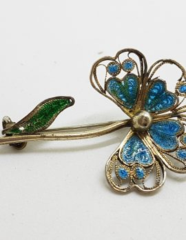 Sterling Silver Ornate Enamel Filigree Flower Brooch