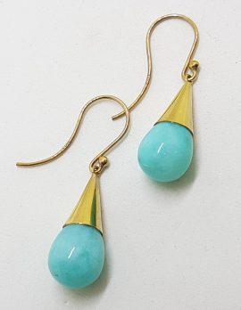 9ct Yellow Gold Amazonite Ball in Cone Drop Earrings
