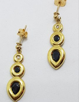 9ct Yellow Gold Sapphire & Diamond Drop Earrings